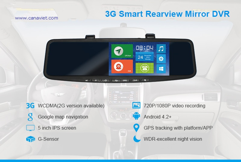 Smart Rearview Mirror with DVR GPS